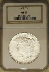 1922-Peace-Silver-dollar-NGC-MS-63-choice-uncirculated-great-luster-WHITE