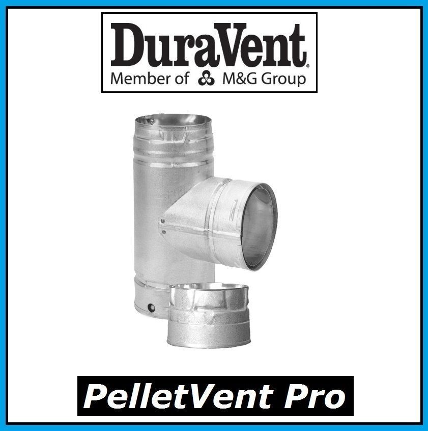DURAVENT PELLETVENT PRO Pipe 4  Diameter Tee with Cap  4PVP-T NEW