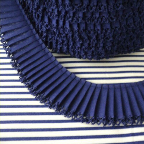 Cotton Fabric Pleated Trim Picot Edging Royal