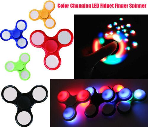 LED Lights Glowing Tri Fidget Hand Spinner Finger Focus EDC Anti-Stress Toy