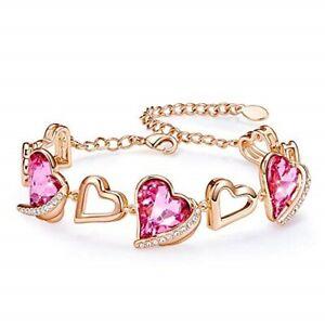 Details about Women Bracelets Love Heart Bracelets Rose Gold Plated Tennis  Bracelet Swarovski