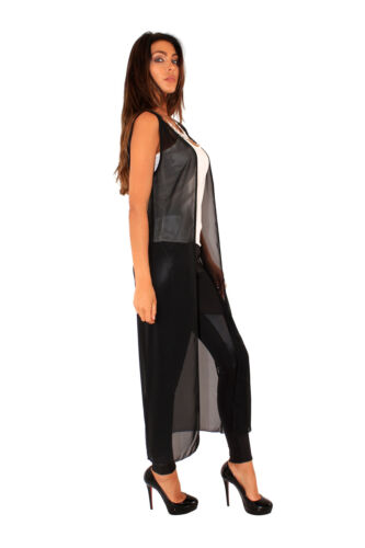 Ladies long Chiffon Jacket Special Occasion Evening Party Sheer Size Uk 8-14