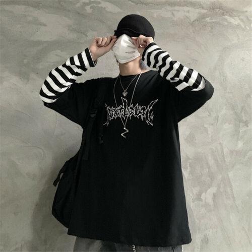 Damen Shirt Langarm T-Shirt Patchwork Gestreift Gotisch Buchstaben Schwarz Punk