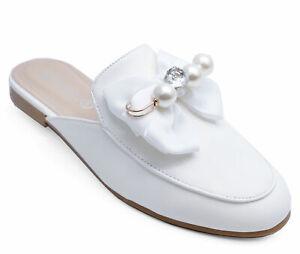 Details Sur Femmes Blanc Slip On Slider Mules Plates Escarpins Fete De Mariage Confortable Chaussures Tailles 3 8 Afficher Le Titre D Origine