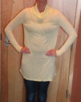 LUSH Women's Sheer Light Yellow Turtle Neck Tunic Size Medium NEW
