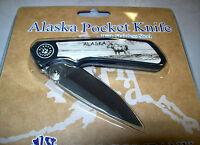 Alaska Pocket Knife Stainless Steel Blade, Bull Moose On Handle, Great Souvenir