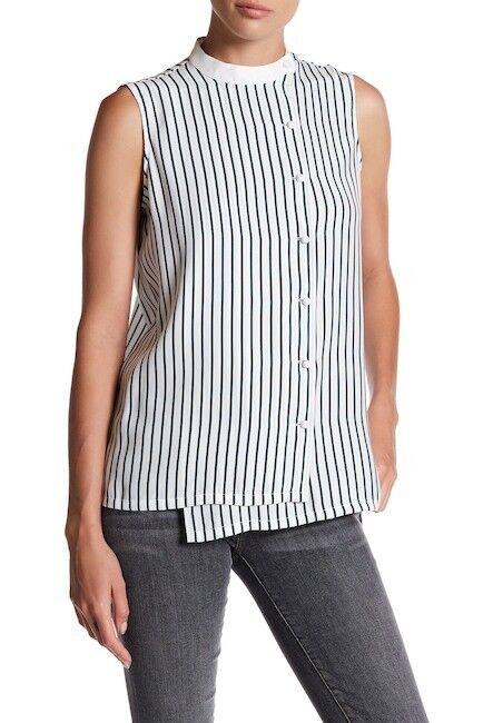 NWT FRAME SHIRT Sleeveless Overlap Silk Blouse - Größe L  T751
