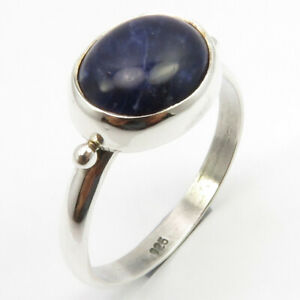 Blue-amp-White-Sodalite-Ring-Size-8-2-5-Grams-Solid-Sterling-Silver-Jewelery-Gift