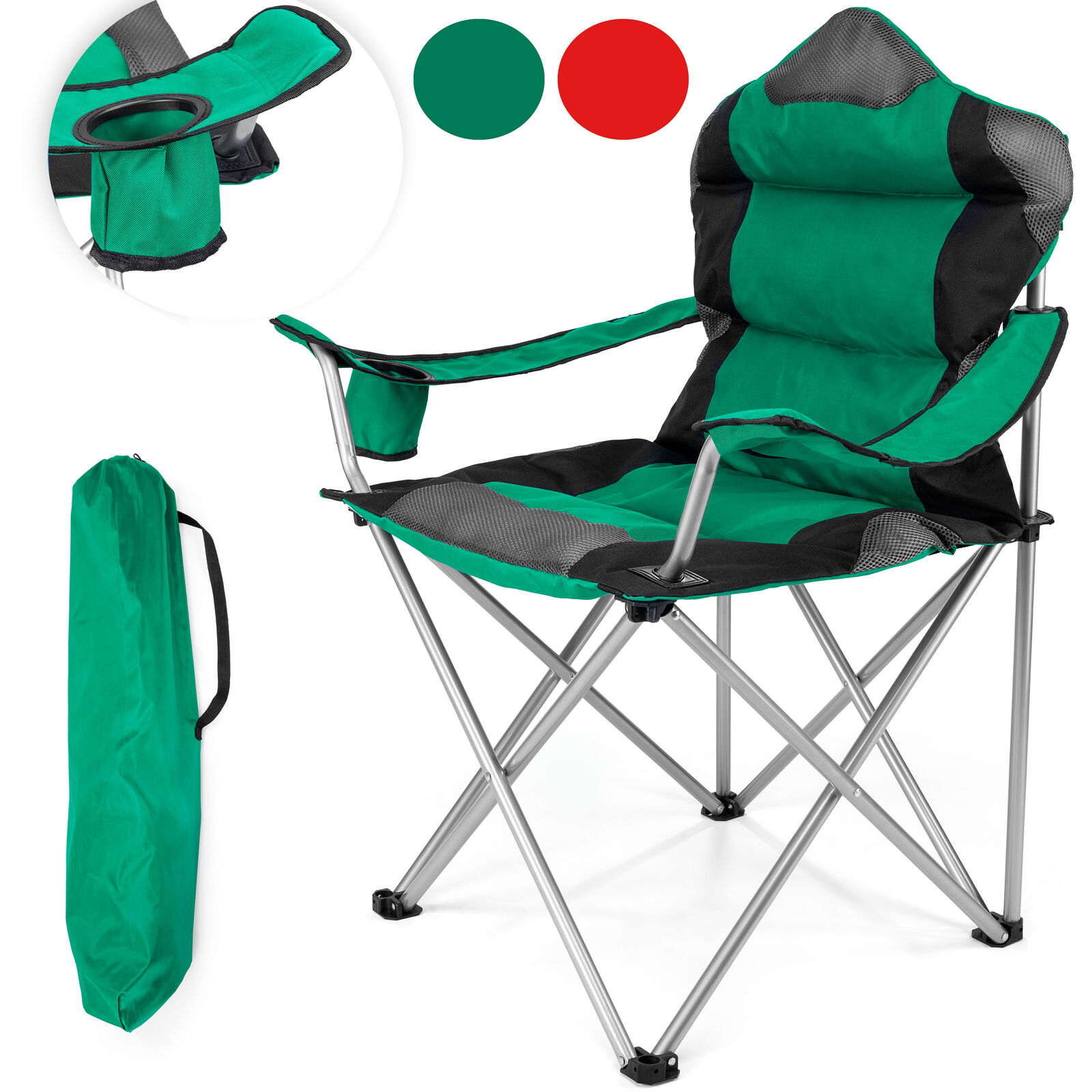 TRESKO Folding camping chair foldable up to 150 kg fishing chair with carry bag