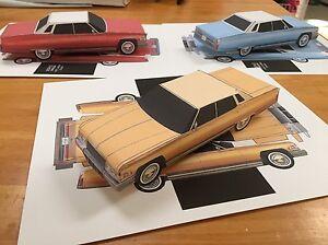 Papercraft Cadillac Sedan deville Gold color Paper Model Car EZU-make