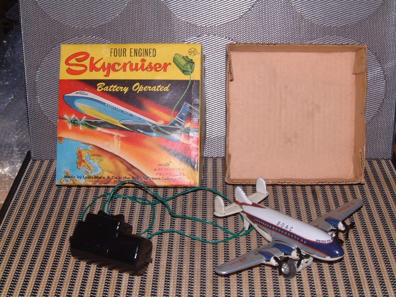 Vintage, voll zinn, batteriebetriebene marx vier mit skycruiser w   box die