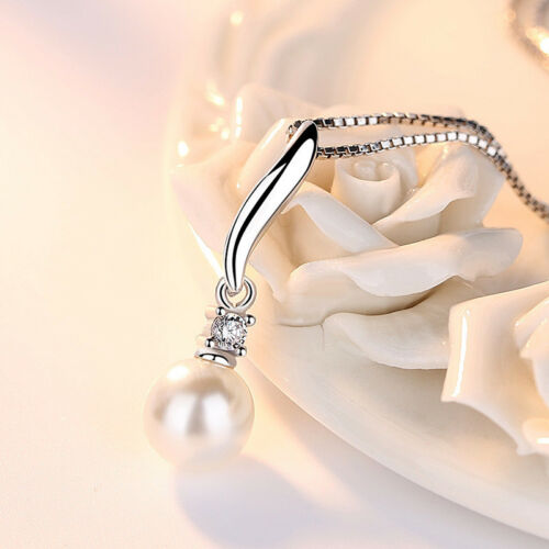 925 Sterling Silver Real Pearl Pendant Necklace For Women Retro Jewelry