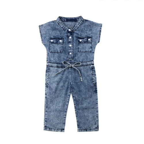 UK Canis Toddler Kids Baby Girl Denim Romper Long Jumpsuit Playsuit Outfit htrew