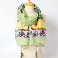 "Women's Fashion Print Cotton Head Shawl Soft Large Beach Tasseled Scarf  35""*71"""