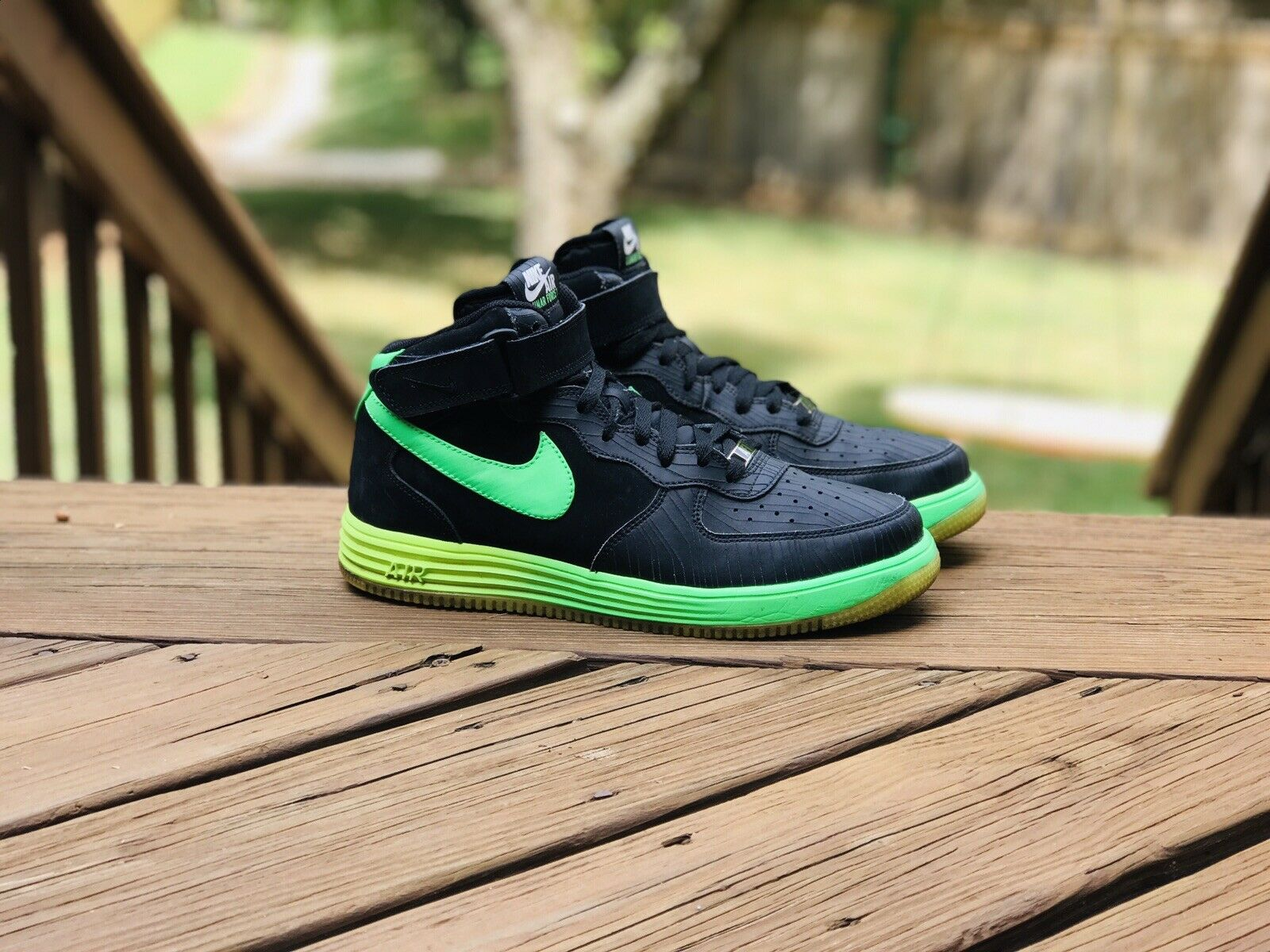 Nike Air Lunar Force 1 Mid LTR Glow BlackPoison Green Volt Shoes Size 10