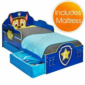 PAW-PATROL-CHASE-TODDLER-BED-WITH-STORAGE-PLUS-FULLY-SPRUNG-MATTRESS