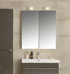 Rrp 210 B Q Imandra Goodhome Gloss Mirrored Wall Cabinet Unit 80 X 90cm Ebay