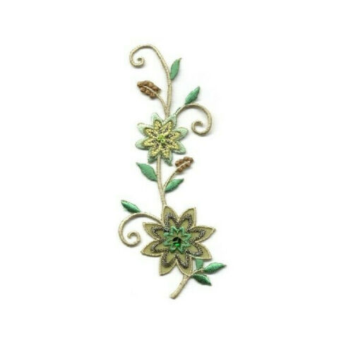 Greens W//Beads Embroidered Iron On Applique Patch Flower Flower Strip