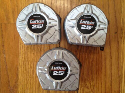 "THREE LUFKIN HI-VIZ 25/' HI-VIZ ABS DIAMOND PLATE TAPE MEASURE 25 FT X 1/"" NEW 3"