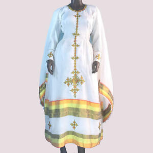 Eritreische Athiopischen Kleid Traditionelle Habesha Kemis Kleidung Bestickt Ebay