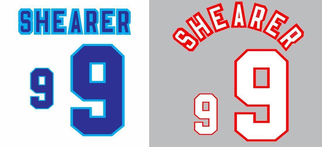 Shearer England Euro 1996 Home and Away Football Nameset Shirt