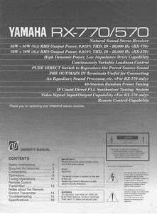 Details About Yamaha Rx 570 Rx 770 Receiver Owners Manual
