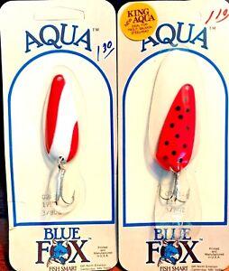 Vintage-Renard-Bleu-aqua-Peche-Cuillere-Leurre-Choix-De-Couleur-quantite-un-leurre