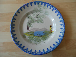 Large-Dish-Faience-Antique-Regional-XIX-Th-Polychrome-Decor-Scene-Identifies-A
