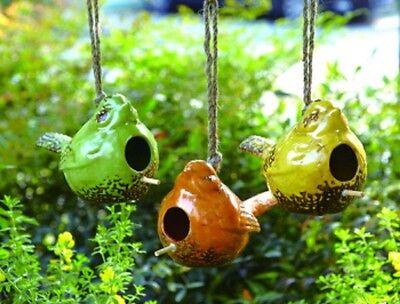 "BIRDHOUSE-Ceramic Crackle Bird Shape Birdhouse--5"" high by 8.5"" wide (IDR12)"