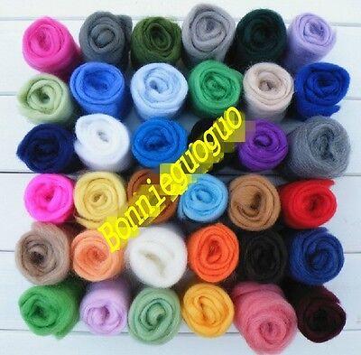 Lot of 36 colors Merino Wool Fibre Roving For Needle Felting Hand Spinning BIN