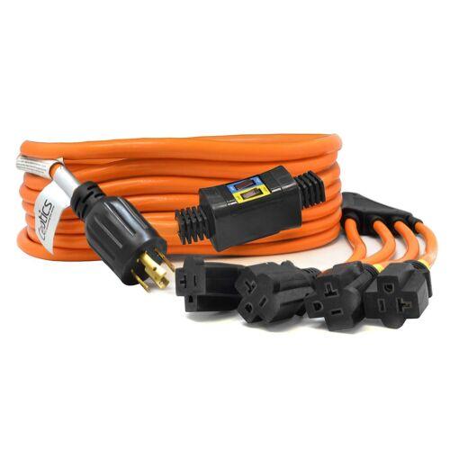 L14-30P to 4x 5-15//20R Ceptics 30A Generator Extension Cord w//Breaker Switch