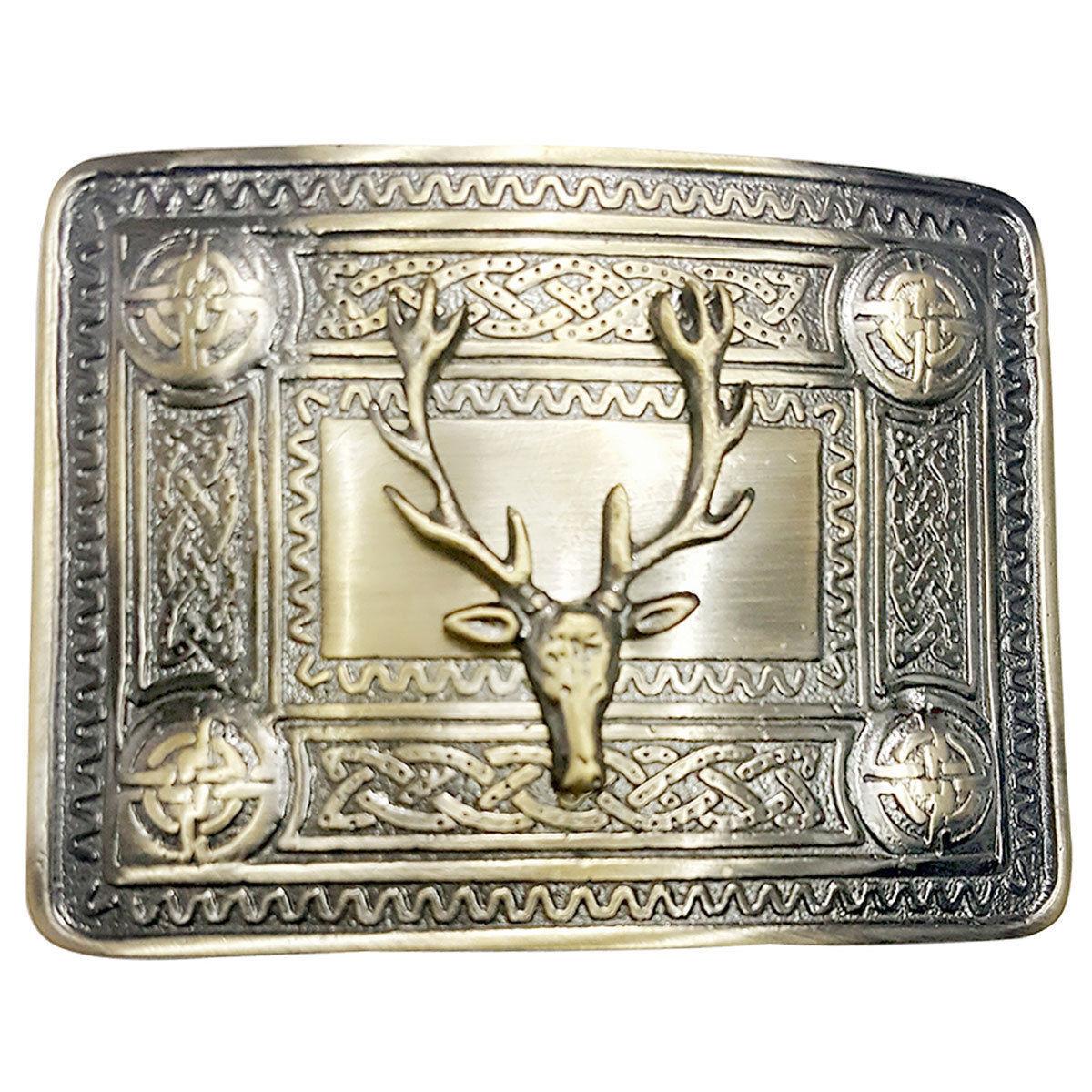 TE Scottish Kilt Belt Buckle Stag Head Celtic Knot 4 Demo Buckles Antique Finish