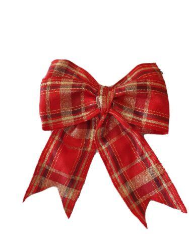 Handmade Christmas Tree Bows Or Rouge Tartan Plaid x 5