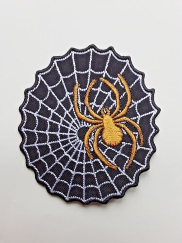 BLACK GOTHIC WEB WITH GOLD SPIDER EMBROIDERED IRON-OR SEW ON PATCH UK SELLER.