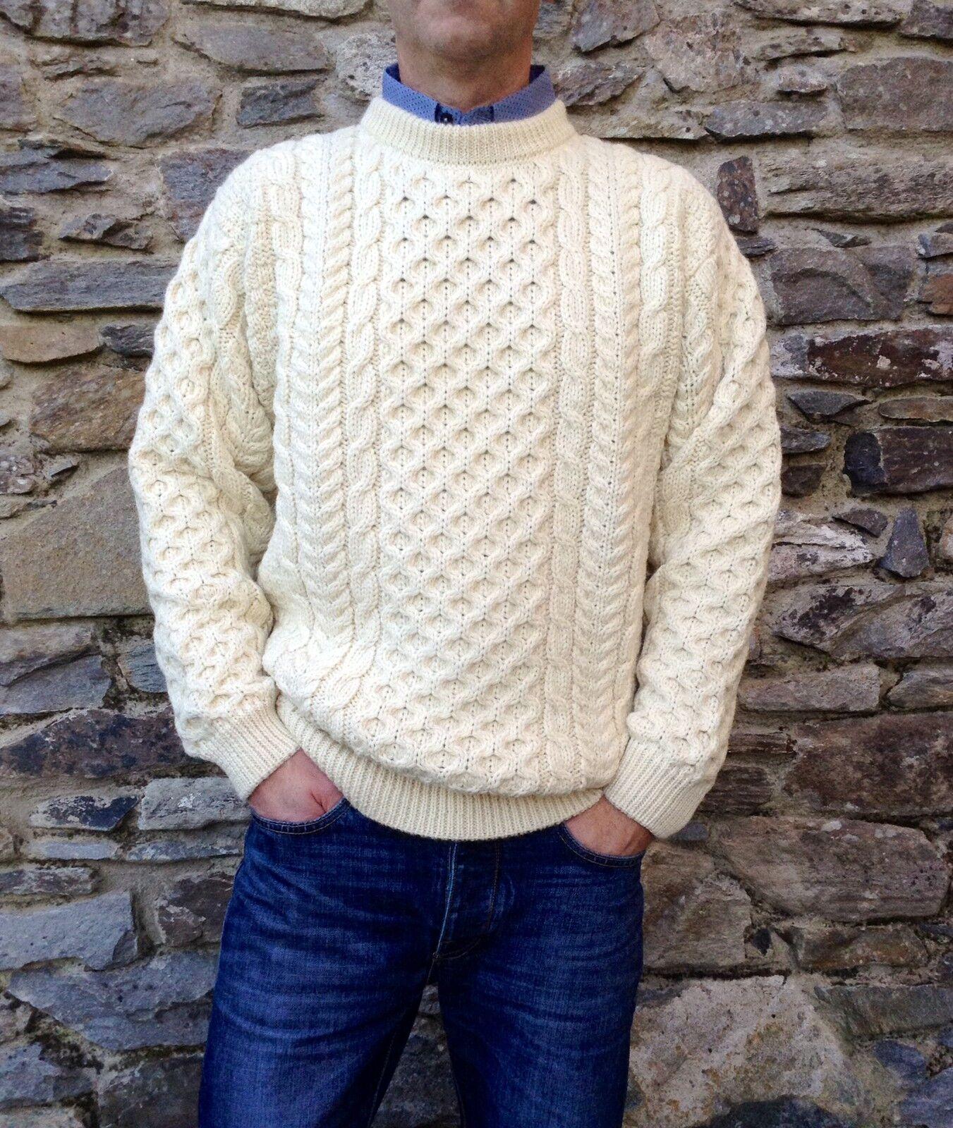 Cavo DA UOMO PESCATORE Irlandese Aran Sweater Irlanda 100% Pura Lana Maglione Girocollo