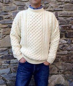Mens Cable Irish Aran Fisherman Sweater Ireland 100 Pure Wool