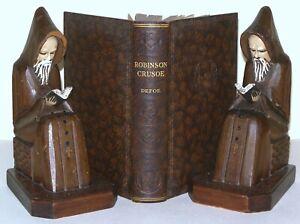 Robinson-Crusoe-Daniel-Defoe-CIRCA-1930-039-s-Hardback-brown-faux-leather