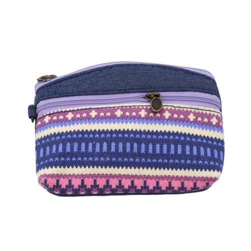 Ethnique Style Carte Clé Mini Sac à Main en Coton Sac Pochette Zipper Coin Support Poignet S