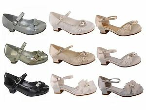 Girls-Infant-Kids-Summer-Sandals-Wedding-Bridesmaid-Party-Dance-Kitten-Heel-Shoe