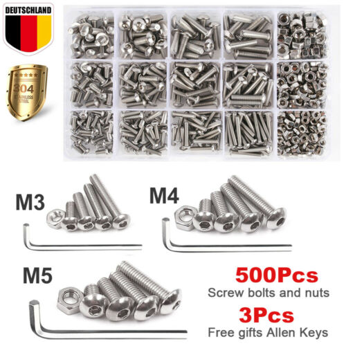 Muttern Set ISO7380 M3 M4 M5 Innensechskant EDELSTAHL 503x Linsenkopfschrauben