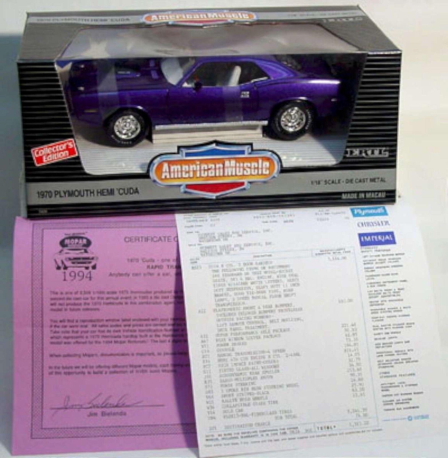ERTL 1 18 1970 PLYMOUTH HEMI CUDA Violet 1994 Club MOPAR  1 7420 American Muscle
