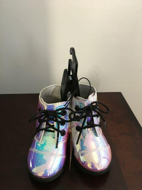 NEW Baby Girls Wonder Nation Iridescent  Shine Moto Combat Boots Shoes Size 4,6