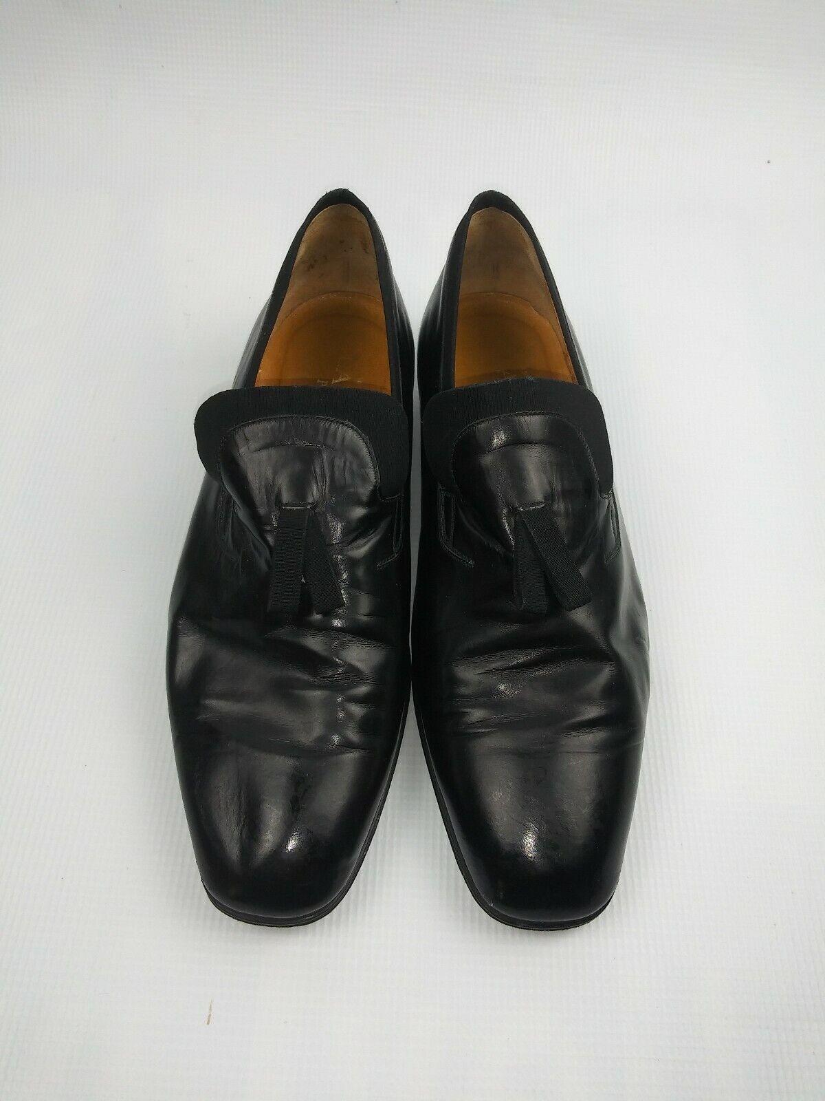 Para hombres Cuero Negro Slip-Ons zapatos