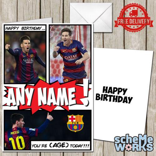 Lionel Messi Personalised Greeting Birthday Card Barcelona Suarez CA071