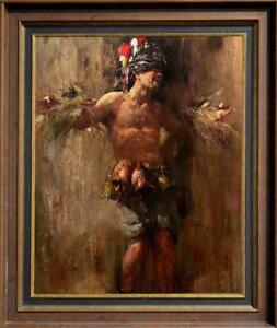 """Hand painted Original Oil Painting art Portrait Male nude man on canvas 30""""x40"""""""