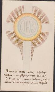 IMAGE PIEUSE HOLY CARD SANTINI - J.H.S. COURONNE D'EPIS DE BLE-ADORO TE DEVOTE.. UiJE4yDp-09113224-468923022
