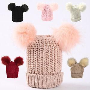 46f9703f3ef New Girls Childrens Winter Warm double two faux fur pom pom Beanie ...