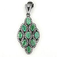 Anhänger Smaragd & Cz 925 Silber Black Rhodium