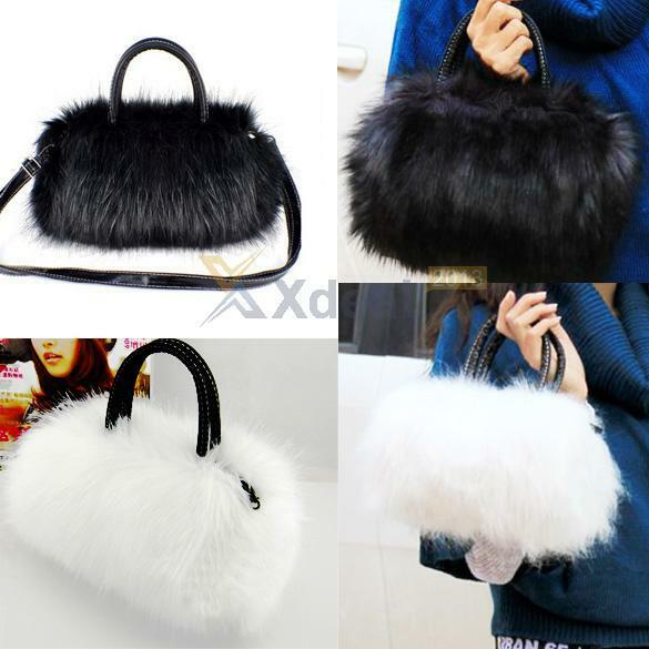 Women Lady Girl Faux Rabbit Fur Handbag Shoulder Messenger Bag Cross Body Tote
