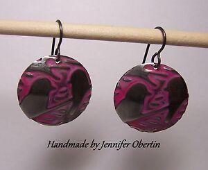 Vintaj-Round-Bird-Design-Art-Earrings-Metal-Embossed-Lightweight-Nickel-Free